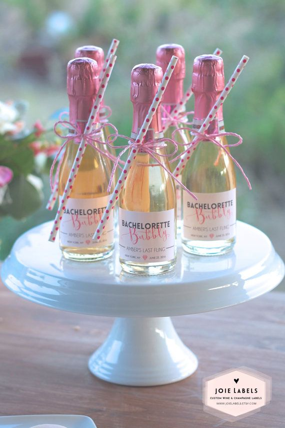 Custom Bachelorette Bubbly Mini Champagne Labels For von JoieLabels