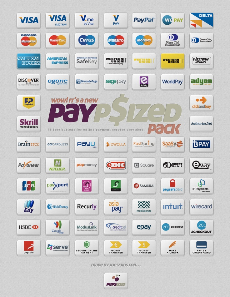 PayPsizedPack - Free Credit-Card Icons - http://pepsized.com/75-free-buttons-for-online-payment-service-providers/