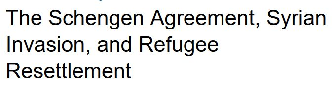 The Schengen Agreement, Syrian Invasion, and Refugee Resettlement - This article explains, in detail, the cost of Refugee Resettlement and why the US should not take them. Our citizens are in peril and the poor are being penalized by this movement.