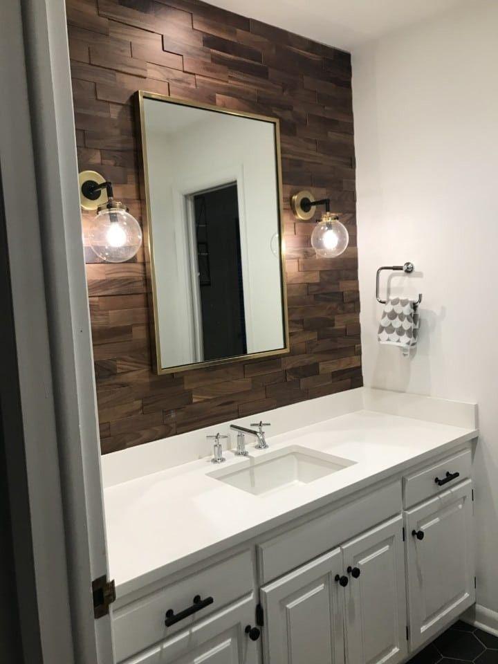 Walnut Mosaic Wood Paneling Img 9524 Real Wood Paneling Wooden Panels For Walls Many Wood Panel Wood Wall Bathroom Bathroom Interior Design Bathrooms Remodel