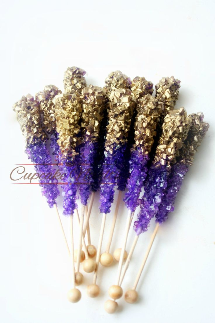 Purple Gold Birthday Pink Gold Birthday Purple Gold Wedding Favors Gold Rock Candy Pink Gold Baby Shower Gold Bridal Shower Dessert Table by CupcakeNovelties on Etsy https://www.etsy.com/listing/487373260/purple-gold-birthday-pink-gold-birthday