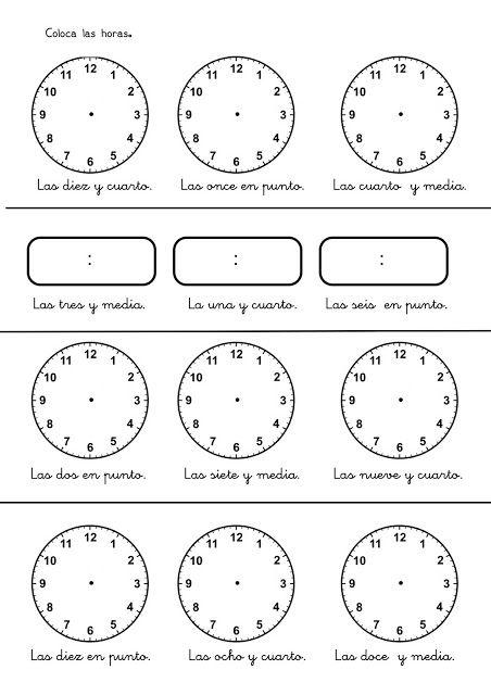 Aprender las horas en infantil y primaria: Fichas con ejercicios para aprender y practicar las horas. Relojes para aprender las horas