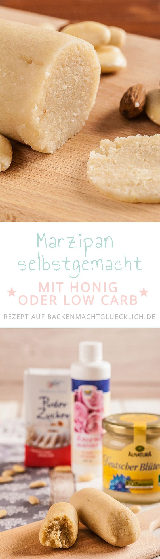 Einfaches Grundrezept für blitzschnelle Marzipanrohmasse mit tollen Tipps wie man Low Carb Marzipan ohne Zucker oder vollwertiges Marzipan selbst herstellen kann.