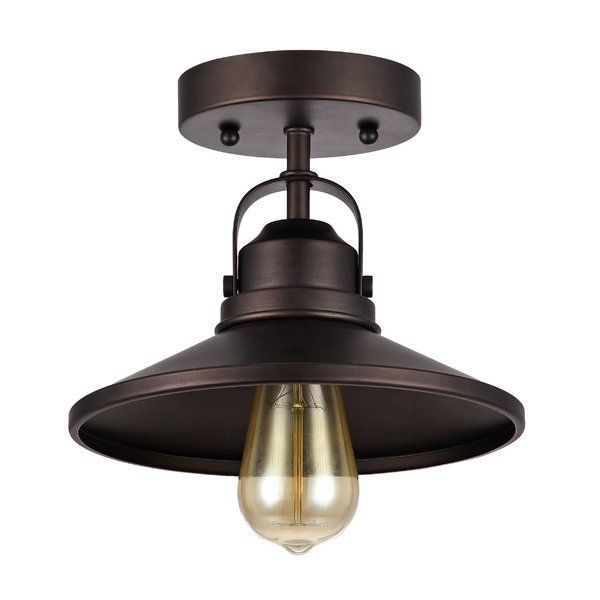 Bouvet 1-Light Semi-Flush Farmhouse Ceiling Light  - This 1-light semi-flush mount fixture features an oil rubbed bronze finish that will complement many urban, loft, industrial and transitional decors. The matching metal shade has a contrasting gold…