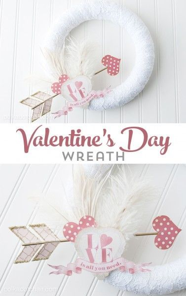 DIY Valentine's Day Wreath, you can even change out the decorations for different holidays, just use straight pins, what a great idea!