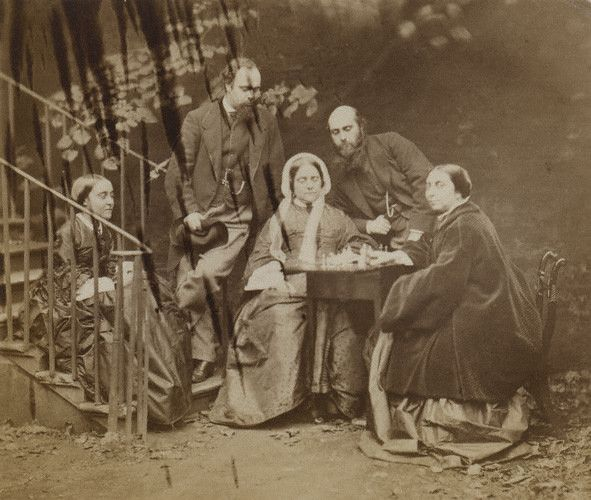 The Rossetti family by Lewis Carroll, 1863. Christina, Dante Gabriel, their  mother Frances Lavinia, William Michael and Maria. © National Portrait Gallery, London