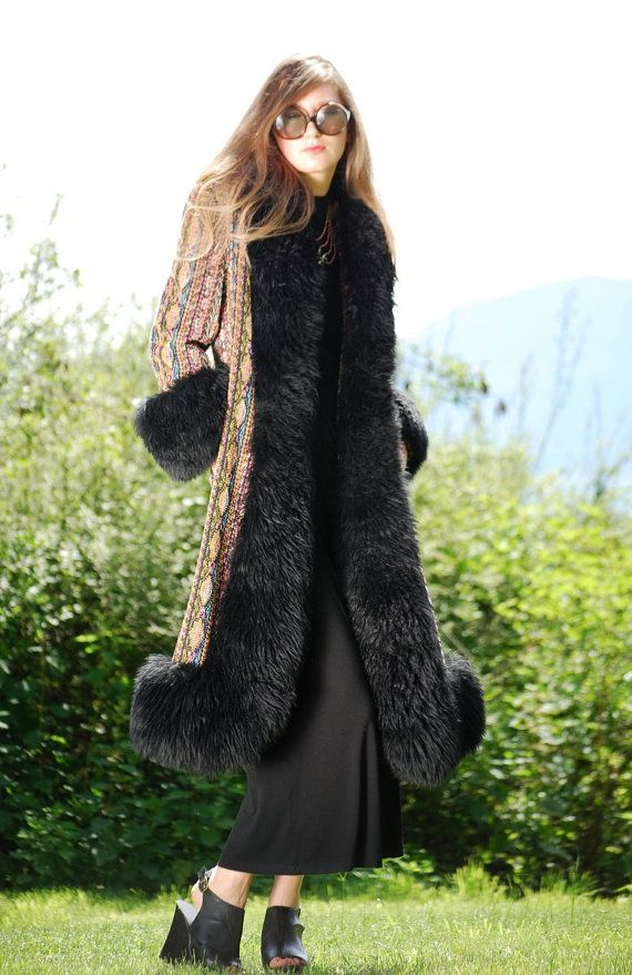 60s Psychedelic Tapestry Coat Black Shearling by SurfandtheCity