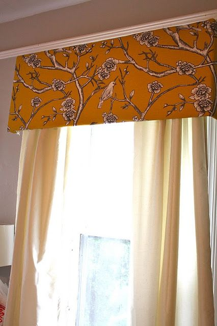 Create your own foam board valances with curtain rod  - living room
