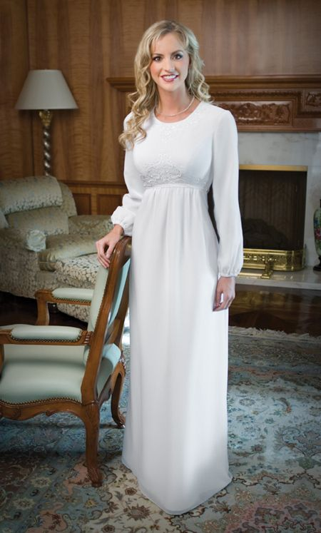 a temple dress for the wedding ceremony itself, inside the Mormon temple.. <3