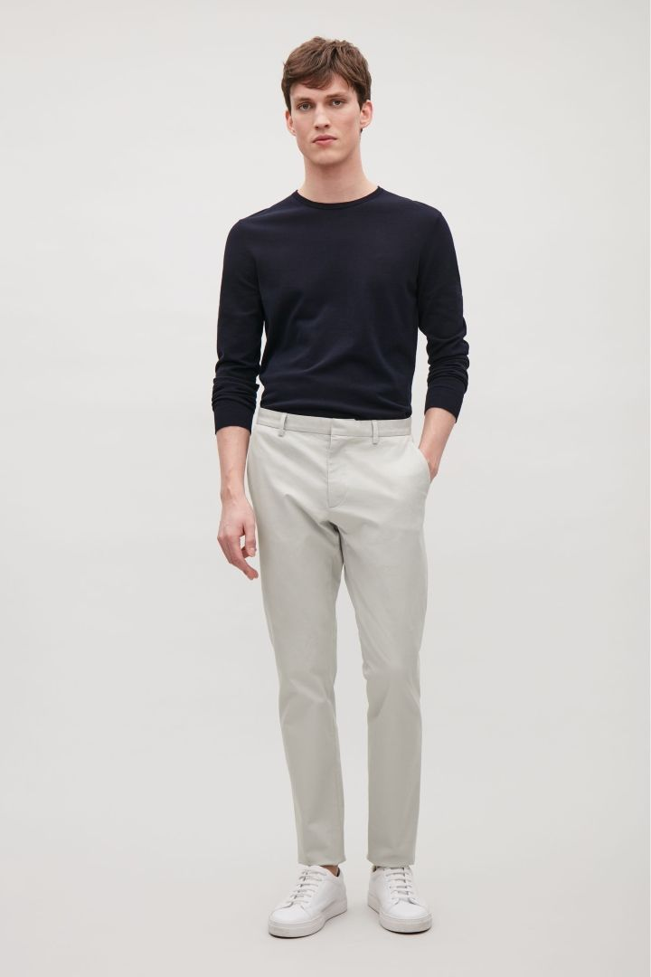 COS image 12 of Cotton stretch chinos in Light Grey