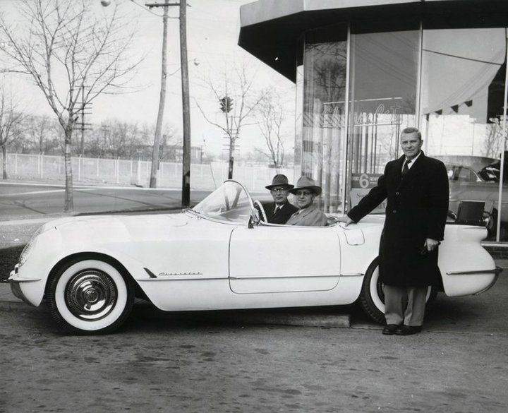 C1 Corvette delivery at a Chevy dealership