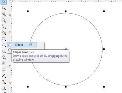 Cara menggunakan extrude tool untuk objek 2D – Bagaimana cara kita membuat pola bentuk 3D, pada dasarnya coreldraw diperuntukan design 2D, tapi dengan bantuan extrude tool kita bisa membuat objek seperti 3D. Silahkan pelajari tutorial dasar ini. 1. Buatlah objek berbentuk lingkaran dengan menggunakan ellipse tool (f7), buat lingkaran sempurna. anda bisa sambil menekan tombol