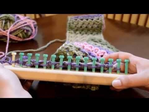 How to Loom Knit a Cowl / Scarf in a kind of Honeycomb Stitch (DIY Tutorial) - YouTube