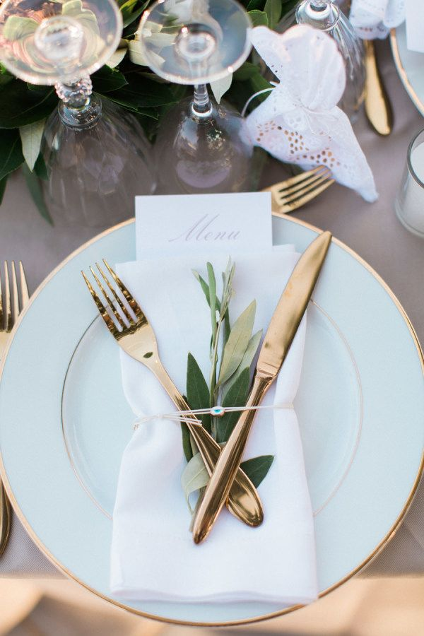 Gold flatware: http://www.stylemepretty.com/little-black-book-blog/2016/01/19/rustic-elegant-crete-destination-wedding/ | Photography: Anna Roussos - http://annaroussos.com/