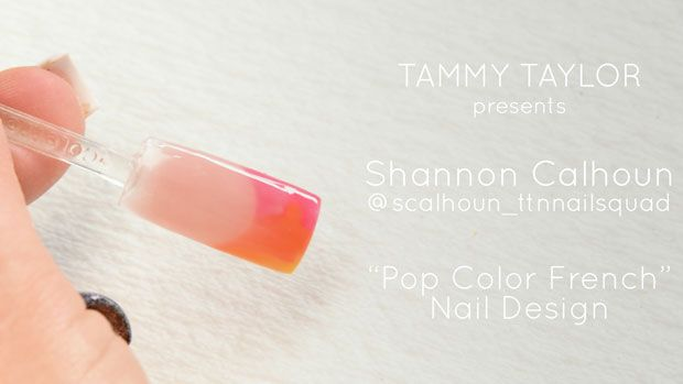 "Tammy Taylor presents Shannon Calhoun ""Pop Color French"" Nail Design @scalhoun_ttnnailsquad"