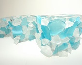 Light Blue and White Waters Sea Glass Candle Holder