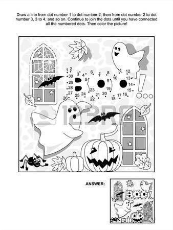 Halloween a tema collegare la pagina puntini foto puzzle e la colorazione con piccoli fantasmi gioco Archivio Fotografico