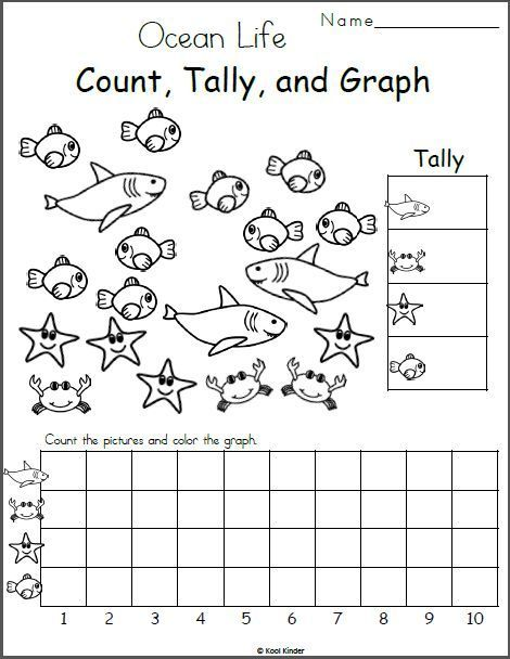 Free Kindergarten Math Worksheet – Counting and Charting – #