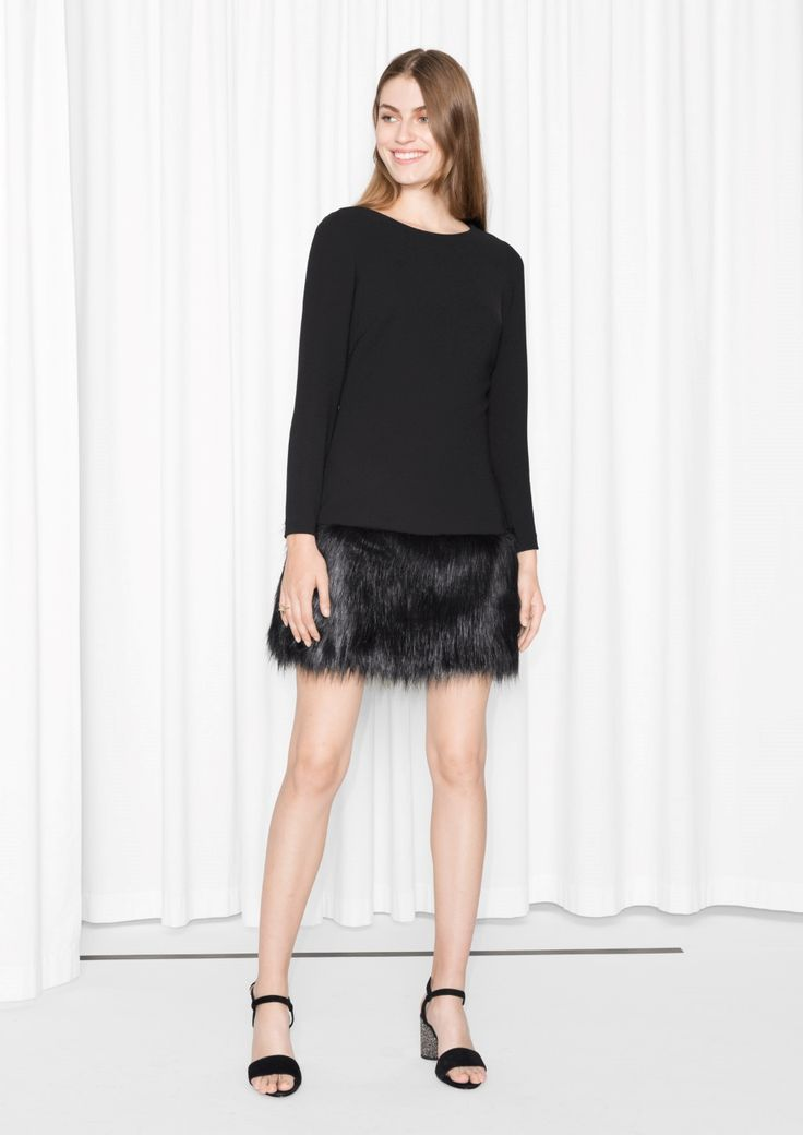 Other Stories image 1 of Faux Fur Dress  in Black
