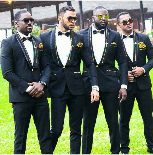 I love the kente lapel trimmings and pocket handkefchiefs. Suits Designed by Elikem Kumordzie, worn by Mawuli Gavor, Jose Tolbert, Van Vicker and Elikem Kumordzie. I Do Movie #ElikemKumordzie suits Ghanaian #Ghanaian #Ghana