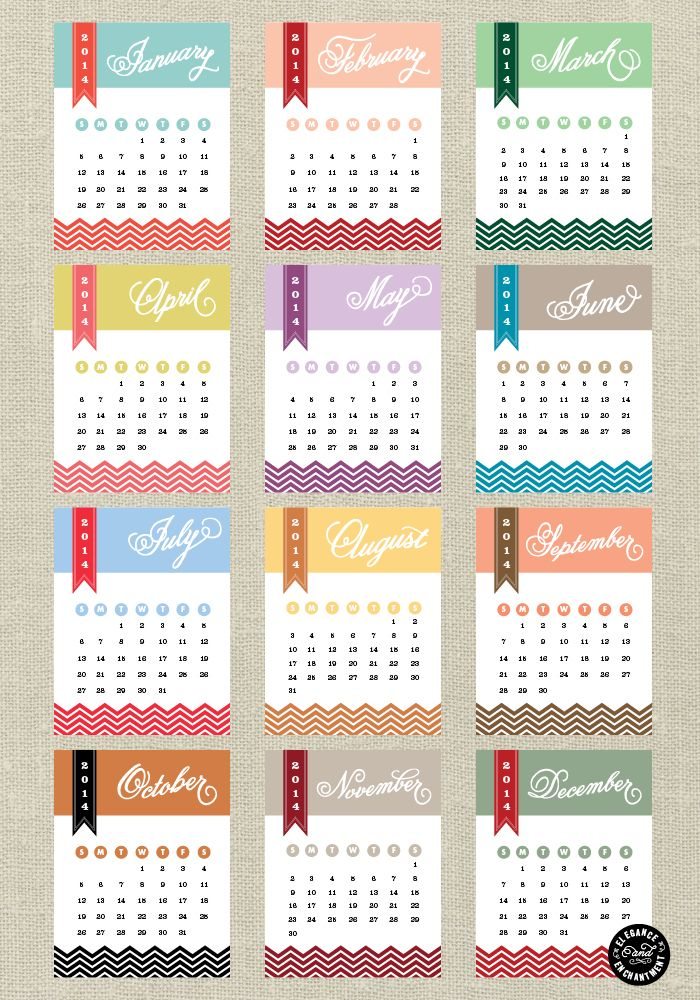 Free 2014 Printable Calendar Cards from Elegance and Enchantment