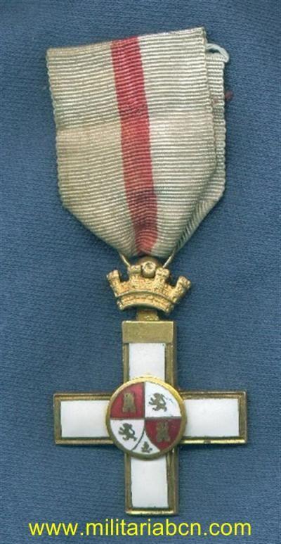España. 1ª República. Cruz al Mérito Militar. Distintivo blanco. - Militària BCN