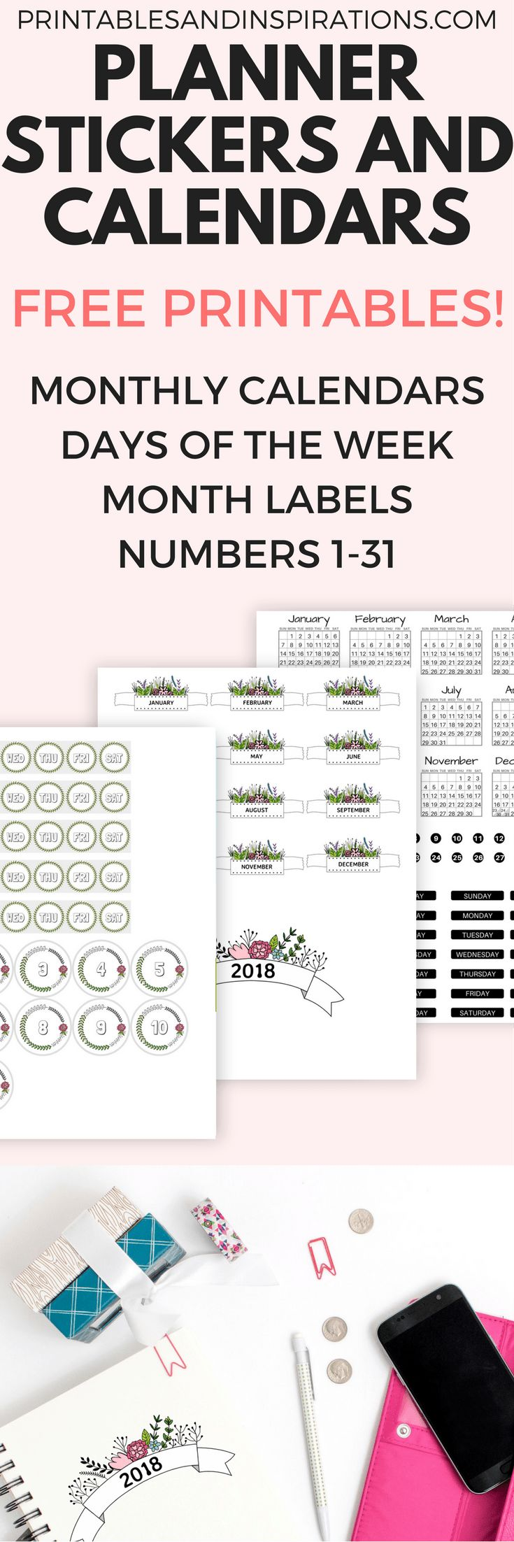 free printable planner stickers and calendars for 2018, free planner printables, monthly calendars for bullet journal, bujo stickers