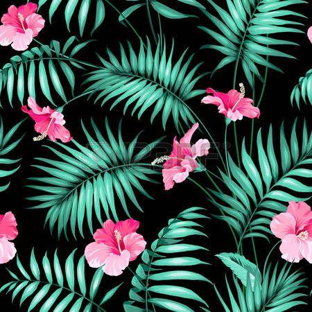 hawaiana: Flores y selva tropical. Vectores