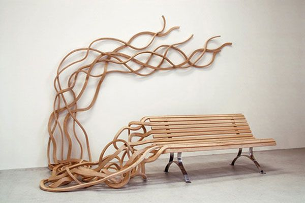 Spaghetti Wall by French-Argentine designer Pablo Reinoso. Constructed of chestnut and iron.