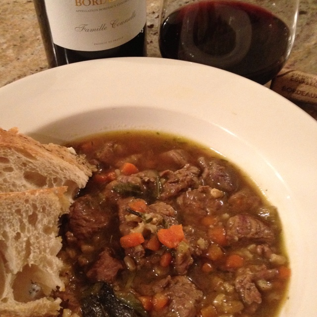 Oxtail & barley soup.