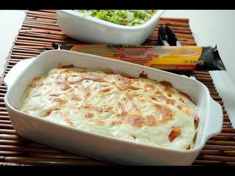 Spaghetti al horno con jamón y queso - Receta fácil y económica - YouTube