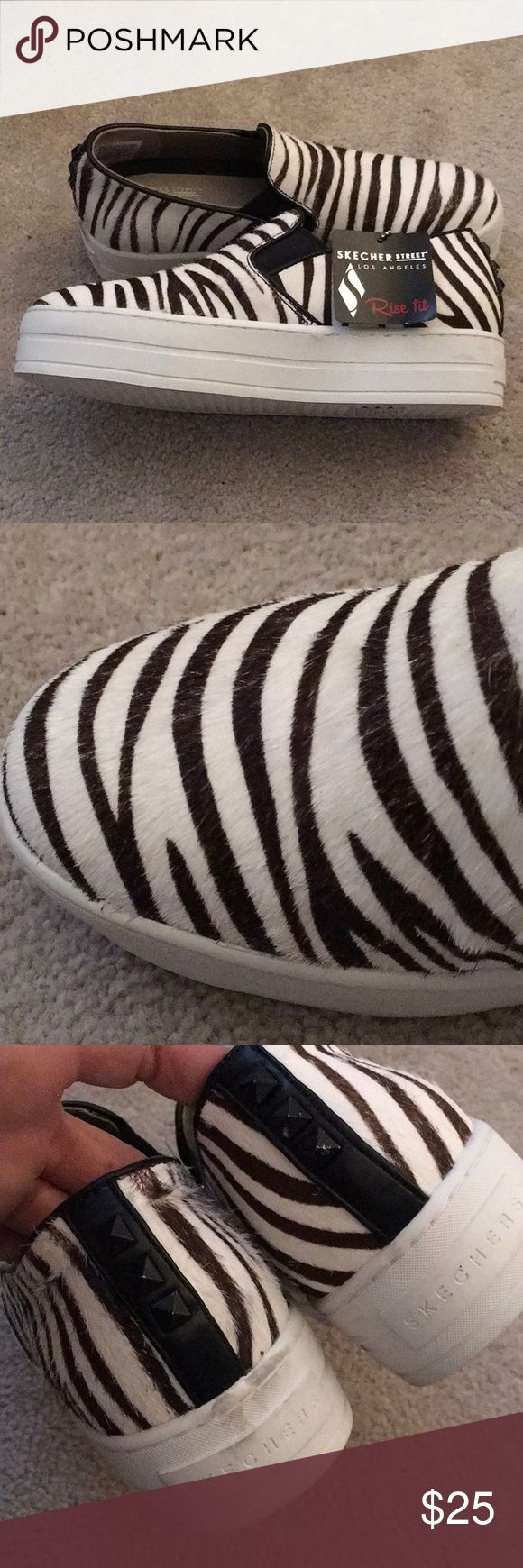Skechers Street Rise Fit. Size 6W Pony Hair Skechers slip on tennis shoes. Absolutely adorable.... wish they were my size. Slight marks on heels. Please see pictures. Skechers Shoes Athletic Shoes