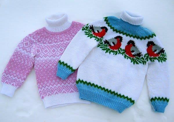Схемы вязания жаккардовых детских свитеров