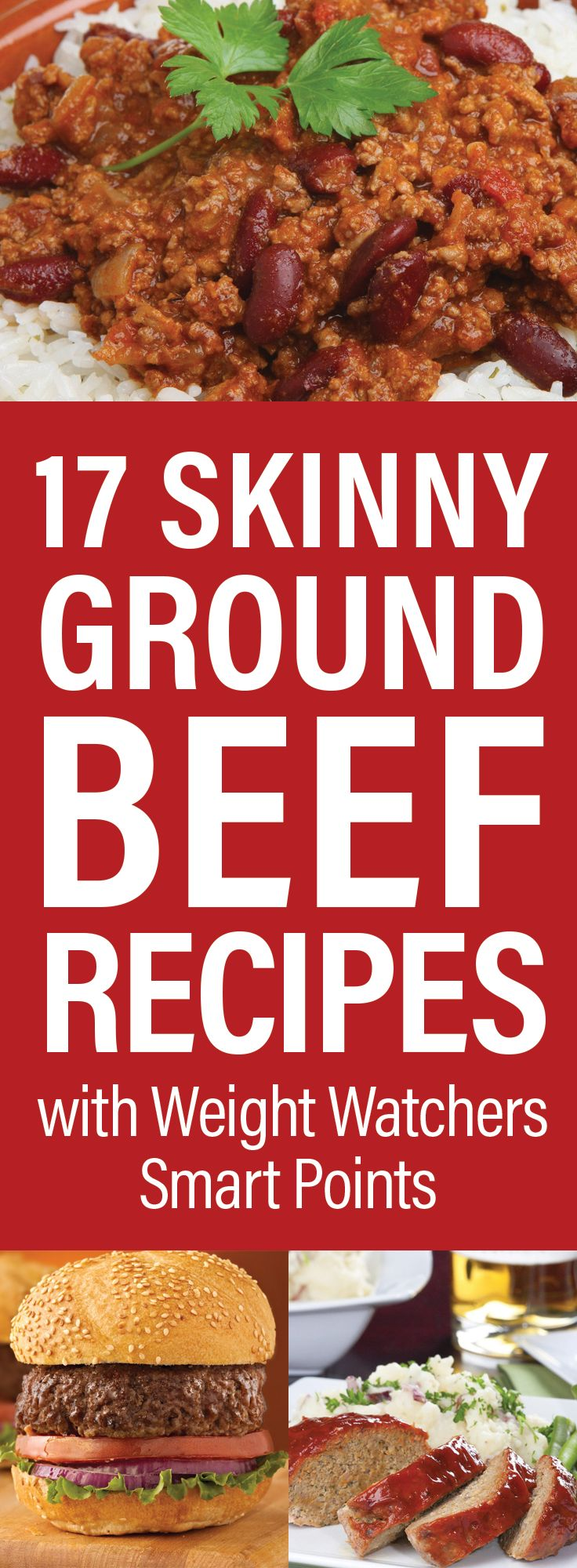 17 Skinny Ground Beef Dinner Recipes with Weight Watchers Smart Points including Taco Rice Skillet, Barbecue Meatloaf, Cabbage Casserole, Lasagna, Pizza Casserole, Chili, Hamburgers, Mexican Casserole, Ziti, Baked Spaghetti and more!