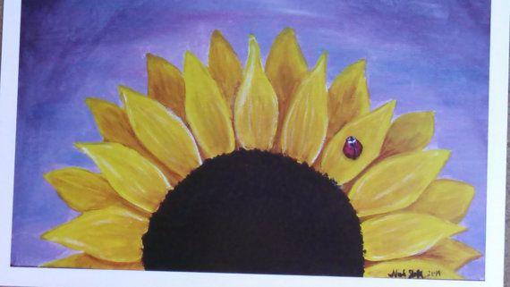 Fly Away Ladybug Sunflower Art Print 8x10 by NicoleInStitches