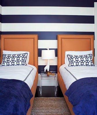 boy room twin bed blue stripe walls orange upholstered headboardGuest Room, Shared Room, Stripes Wall, Guest Bedrooms, Kids Room, Boy Rooms, Twin Beds, Striped Walls, Boys Room