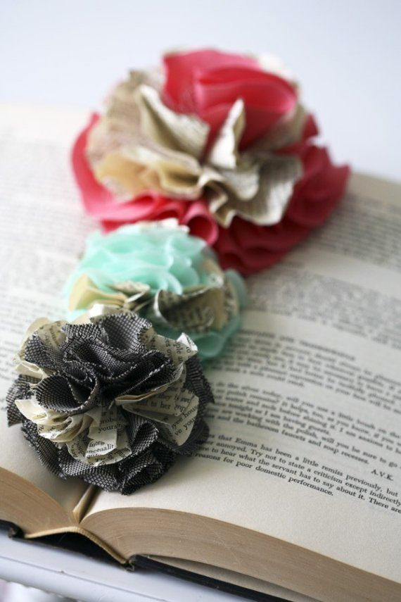 Fabric & Book Pages Flower