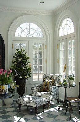 #Cocoscollections Salvaged vinyl french doors w no glass panes will  add architectural interest to area under the cottage. Love love LOVE these french doors with elegant fanlights overhead