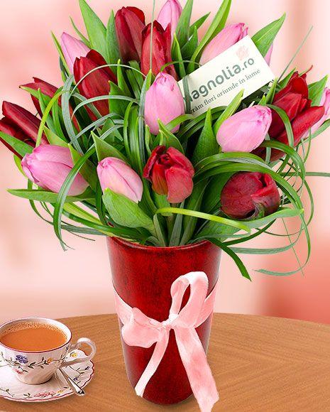 Buchet 21 lalele roz şi roşii