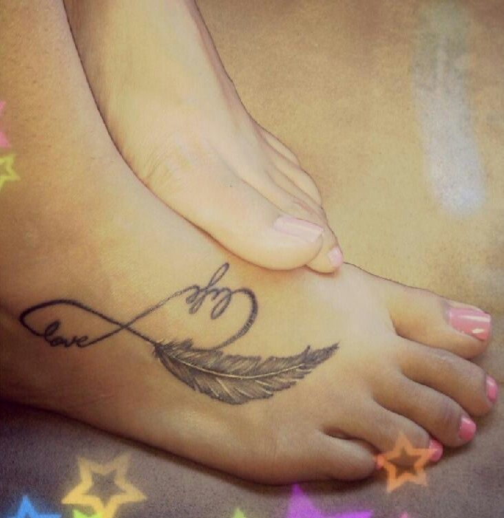 Feather infinity foot tattoo maybe not on the foot htough for Infinity sign tattoo cover up