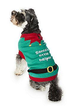 F&F Santa's Little Helper Dog Jumper - Green & Red