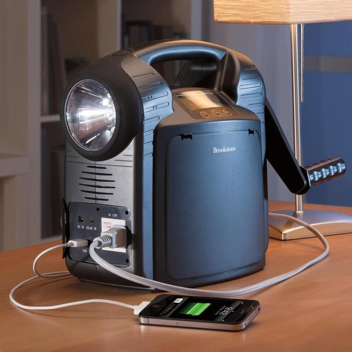 Portable power supply gives 7 hours of power for charging, plugging in, even jumping car. Also has hand crank.