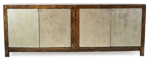 awesome for under the TV. media console in natural wood and silver leaf. very shinoda.