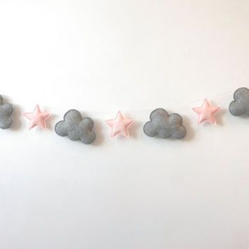 Nursery garland, Clouds and Stars Garland, Grey and Pale Pink, Felt Bunting, Felt Banner, Nursery Decor, Wall Decor, Baby Decor, Baby gift