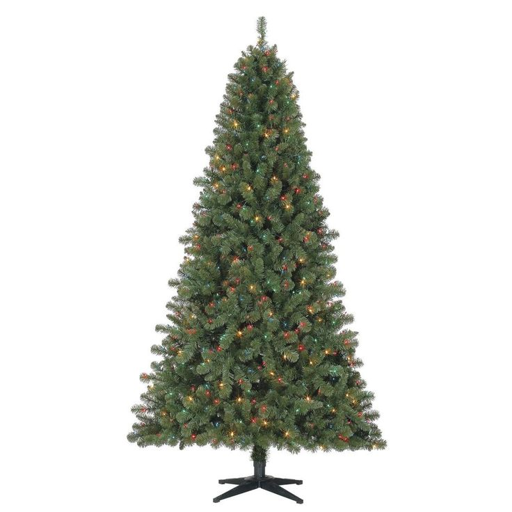 Pre-Lit 7' Duncan Fir Artificial Christmas Tree with Multi-Lights Xmas Trees  #HolidayTime