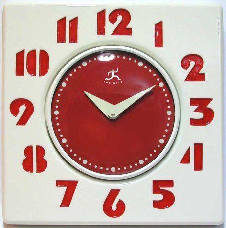 retro red & white clock