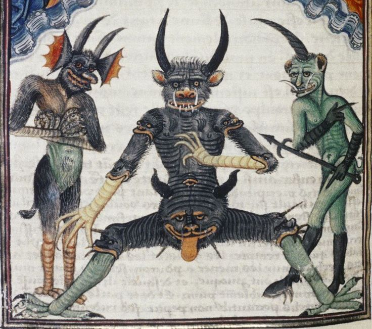 Devils waiting for the Last Judgement     Livre de la Vigne nostre Seigneur, France, 1450-1470