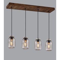 Luminaire suspendu sur base rectangle en bois avec 4 pots mason en verre clair. Sur fil noir ajustable en hauteur.