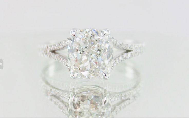 Cushion Cut Split Shank Platinum Micropave Engagement Ring my favorite