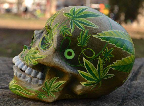 Unique Handmade Marijuana Leaves Cannabis Sativa Hemp Pot Green Smoke High Day of the Dead Stone Ceramic Mexican Sugar Skull MADE TO ORDER